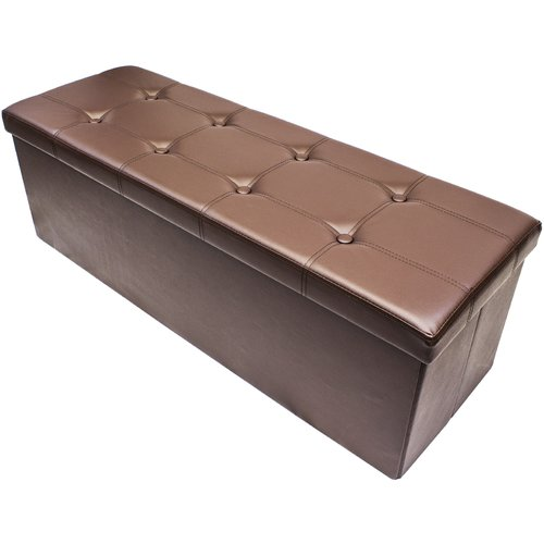 Sorbus Storage Bench Chest, Collapsible/Folding Bench Ottoman with Cover, Perfect Hope Chest, Pouffe Ottoman, Coffee Table, Seat, Foot Rest and more, Contemporary Faux leather (Chocolate)