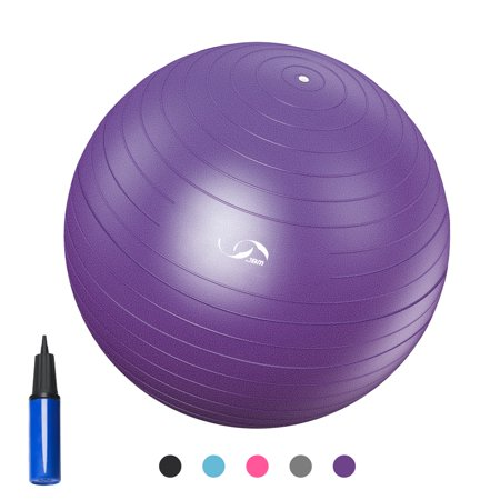 QUANFENG QF Exercise Ball Yoga Ball with Free Air Pump for Fitness, Balance & Gym Workouts, 200 lbs (65CM, Purple)