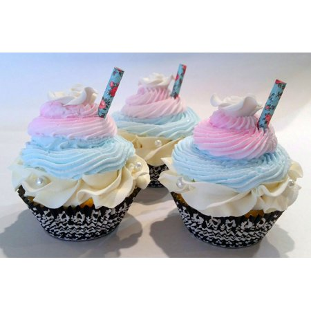 Shabby Chic Faux Cupcakes- Fake Food Display SET of 3- Home Decor, Party Favors, Decoration by DeziCakes