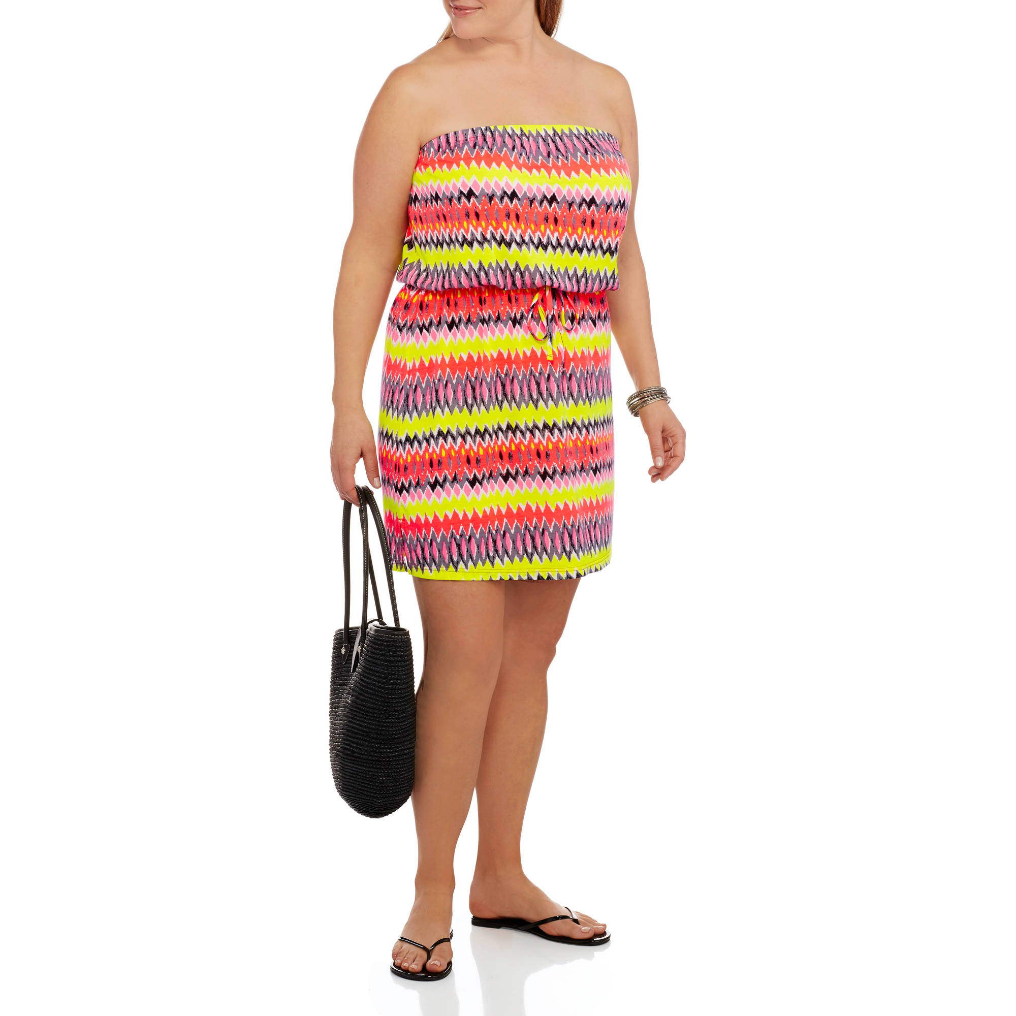Concepts Women's Plus-Size Tank Dress with Removable Straps and Elastic Tie Front Waist