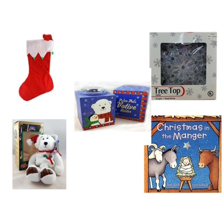"Christmas Fun Gift Bundle [5 Piece] - Red Felt Stocking Green Balls 15"" - 19-Light Snowflake Tree Topper - Polar Pals Votive Holder - Limited Treasures  Edition White Holly Berry Beanie Bear  6"" -"