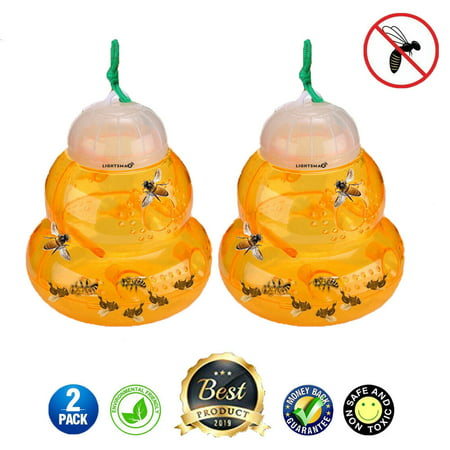 LIGHTSMAX 2 PKS Wasp Trap Bee Traps Jar Hornet Trap Yellow Jacket Trap Attracts Hornets Yellow Jackets Bees Wasps Yellow Jackets Traps Plastic Wasp Trap Catcher Beehive Wasp Trap