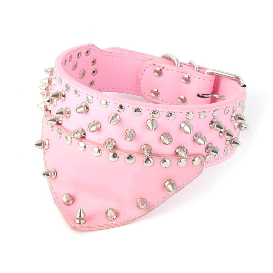 Pet Dog Faux Leather Spiked Rivet Studded Triangular Towel Neck Strap Collar