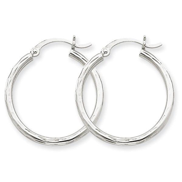 14k White Gold Diamond-cut 2mm Round Tube Hoop Earrings