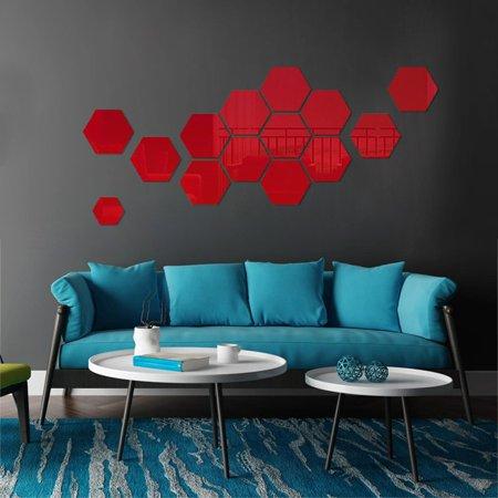 3D Hexagon Acrylic Mirror Wall Stickers DIY Art Wall Decor Stickers Home Decor - image 2 of 7