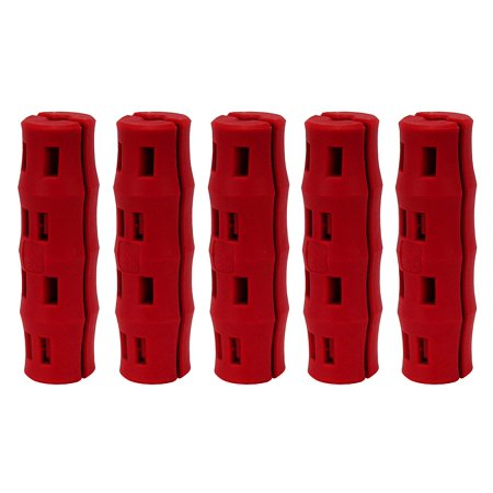 Bucket Handle Replacement Grip, Ergonomic, Oversized, Red, 5 Pack, 2 Piece snap together grip upgrades the factory bucket grip. By PolyFarm