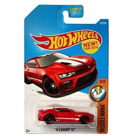 Hot Wheels 2016 Muscle Mania '16 Camaro SS 129/250, Red Camaro Ss Wheel Emblems