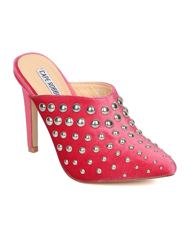 Women Studded Stiletto Mule - Stiletto Heel Slide - Pointy Toe Mule - HK86 By Cape Robbin