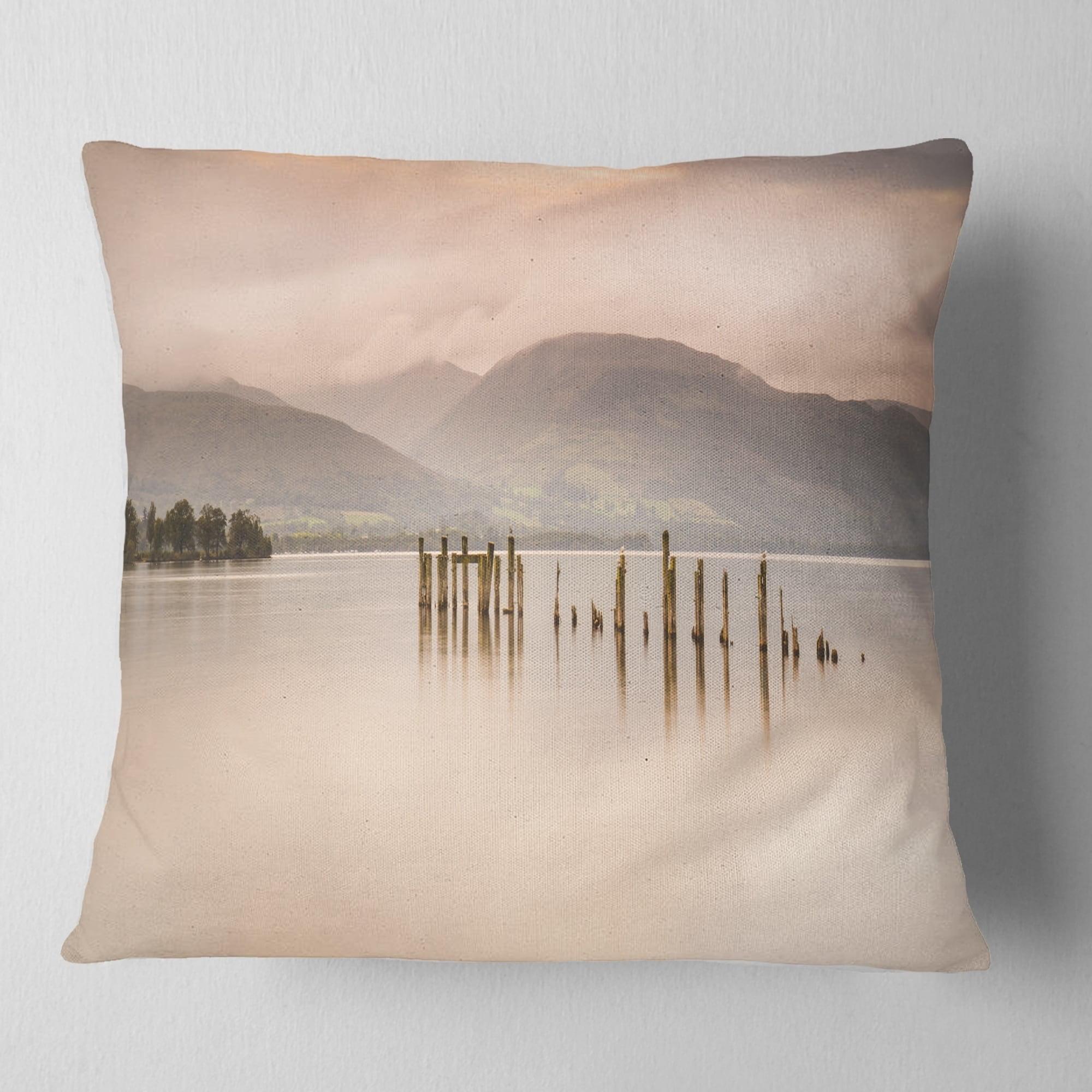 Design Art Designart Loch Lomond Jetty And Mountains Landscape Printed Throw Pillow Walmart Com Walmart Com