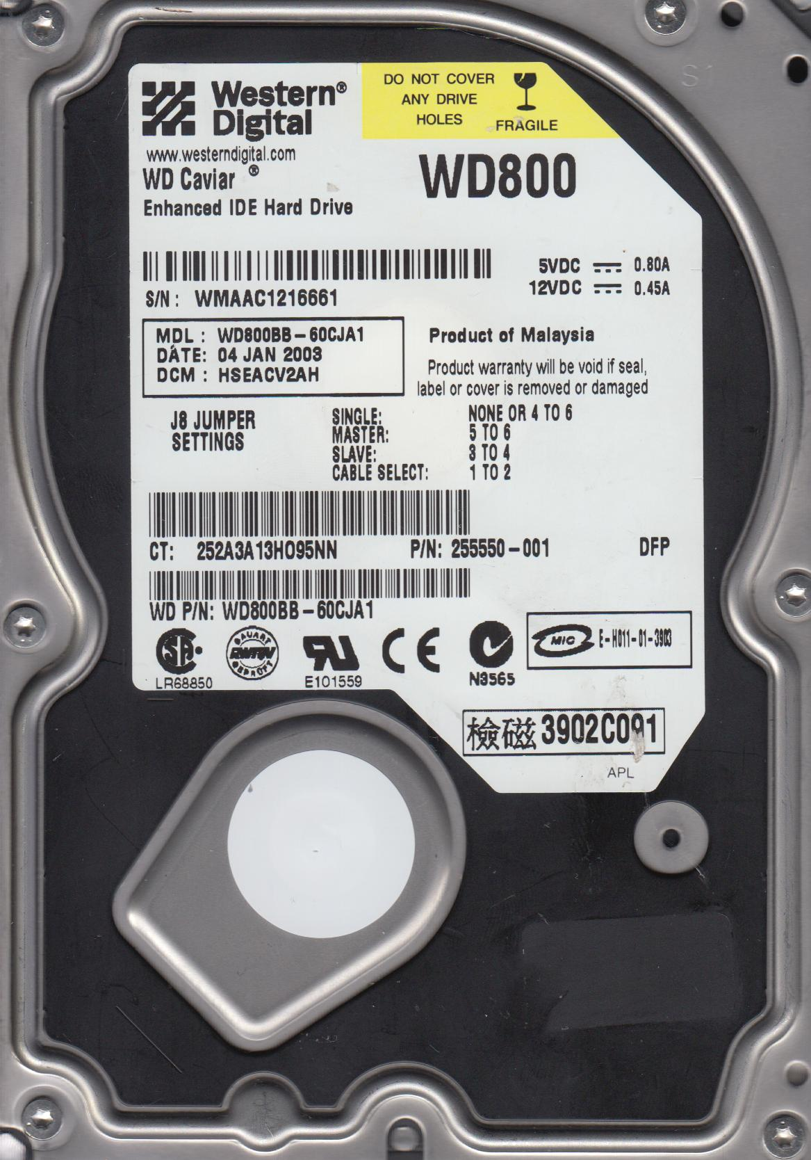 WD800BB-60CJA1, DCM HSEACV2AH, Western Digital 80GB IDE 3.5 Hard Drive by WD