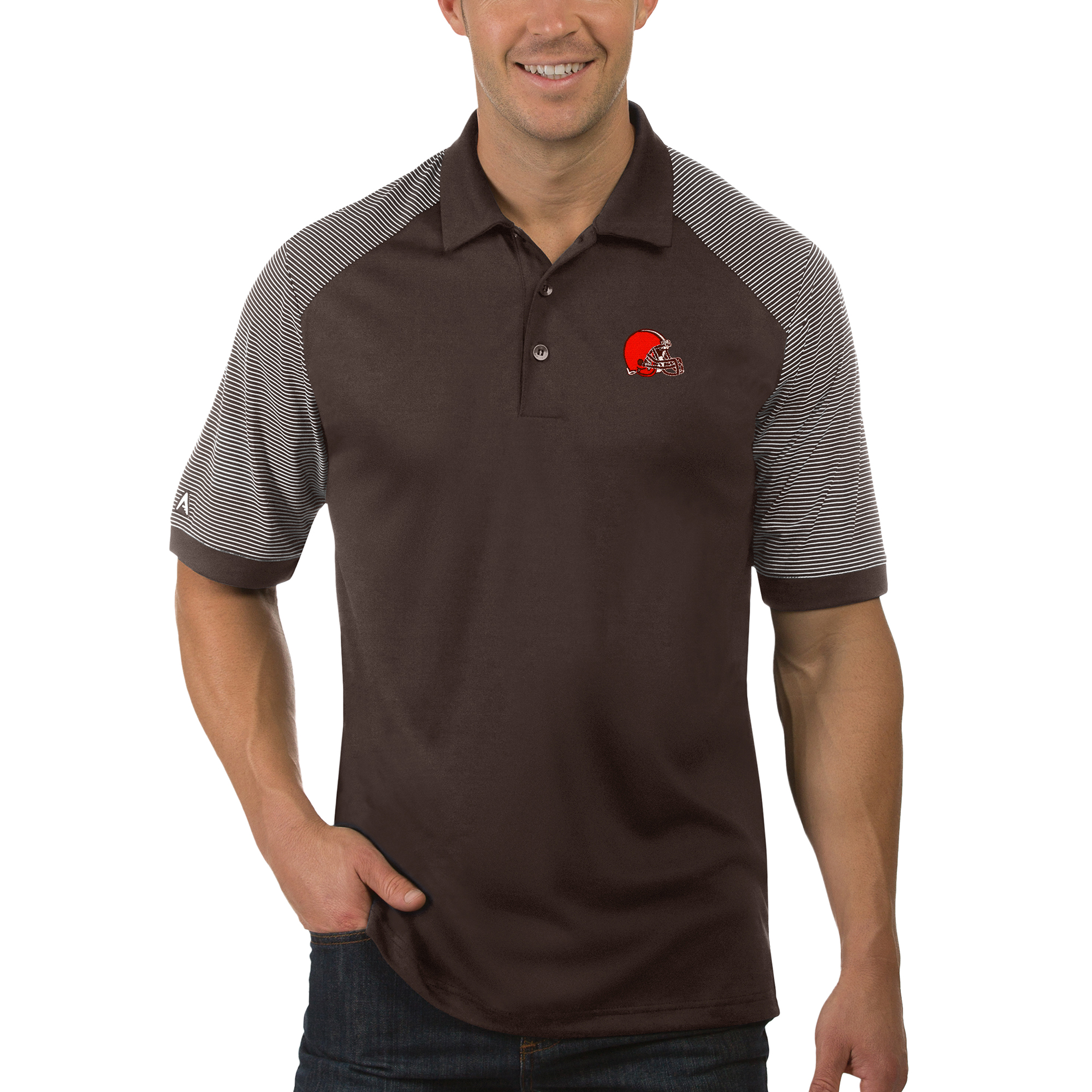 Cleveland Browns Antigua Desert Dry Engage Polo - Brown/White