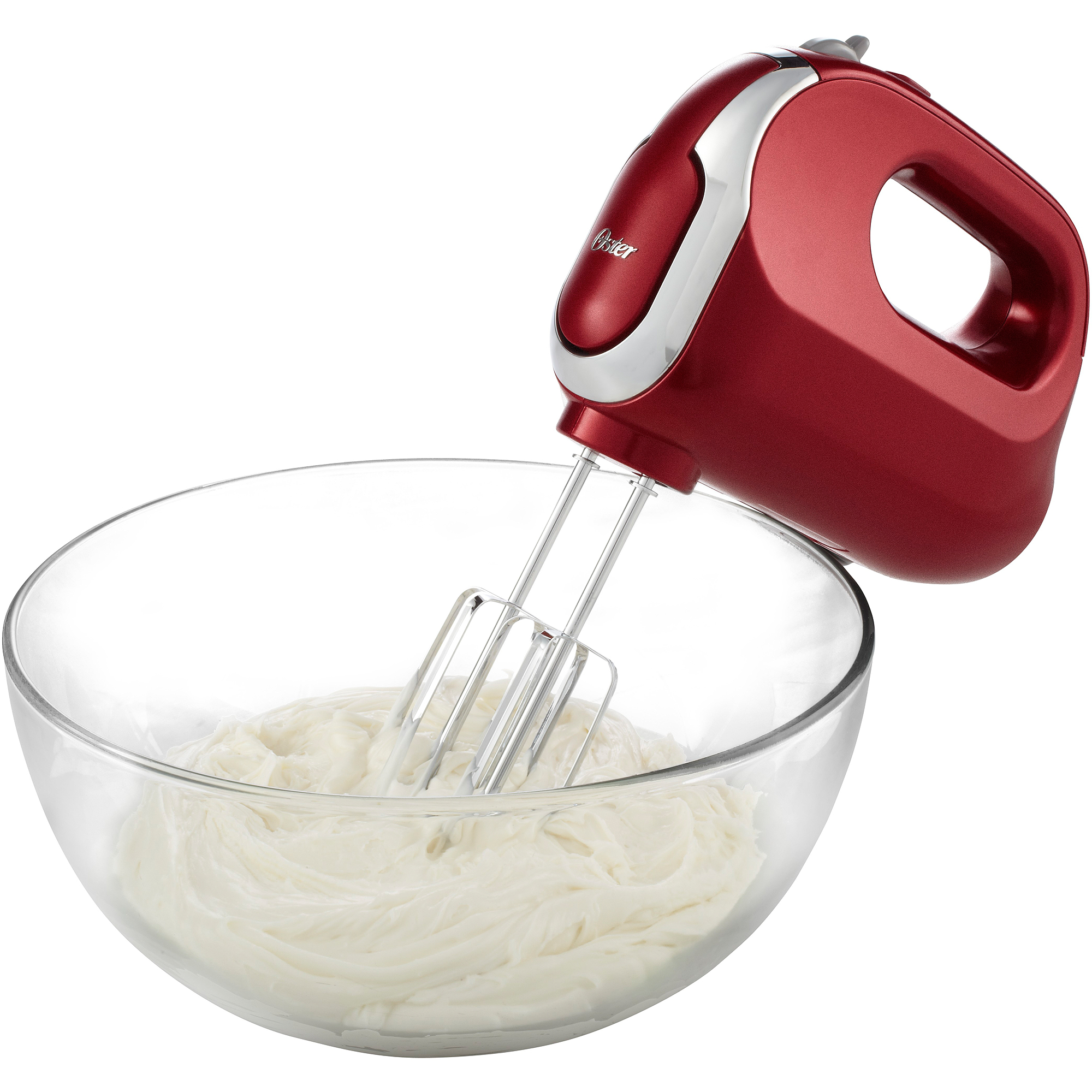 Oster 7-Speed Clean Start Hand Mixer with Storage Case plus Super Aerator Whisk Attachment, Red