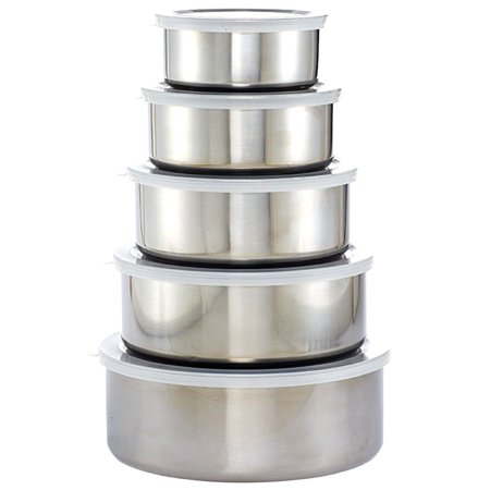Set Of 5 Stainless Steel Kitchen Mixing Bowls Set with Snap On Plastic Lids BPA Free