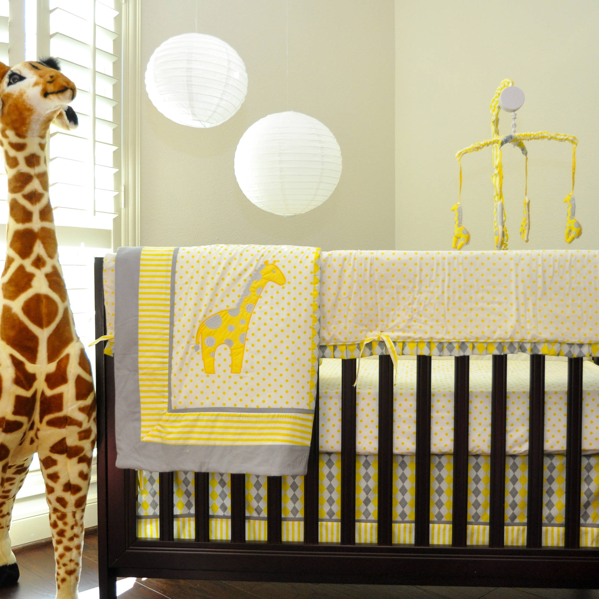 Argyle Giraffe Safari Jungle 10 Piece Crib Bedding Set Yellow And Gray