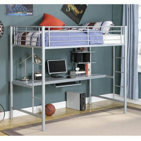 Walker Edison Twin Over Desk Metal Bunk Bed Silver