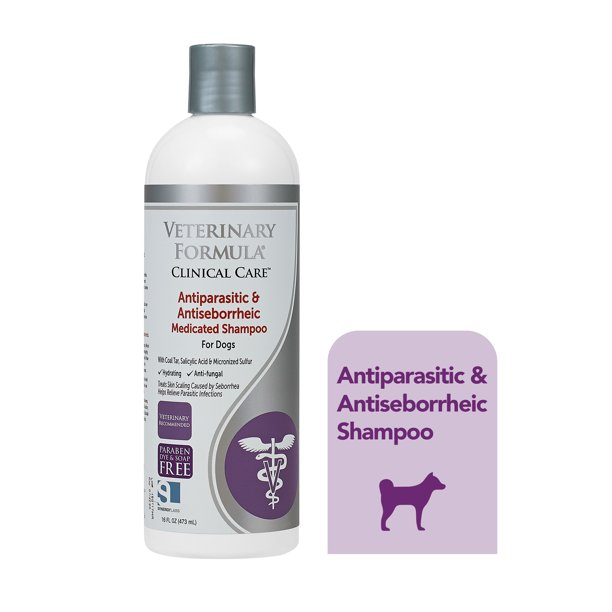 Veterinary Formula Clinical Care Antiparasitic and Antiseborrheic Shampoo for Dogs, 16 oz.