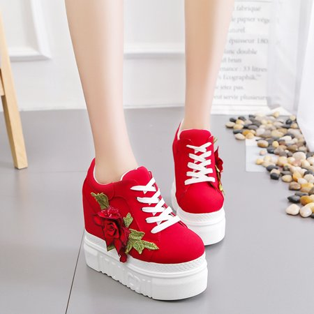 Meigar Women Casual Shoes Lace High Platform Sneakers Shoes - image 2 of 5