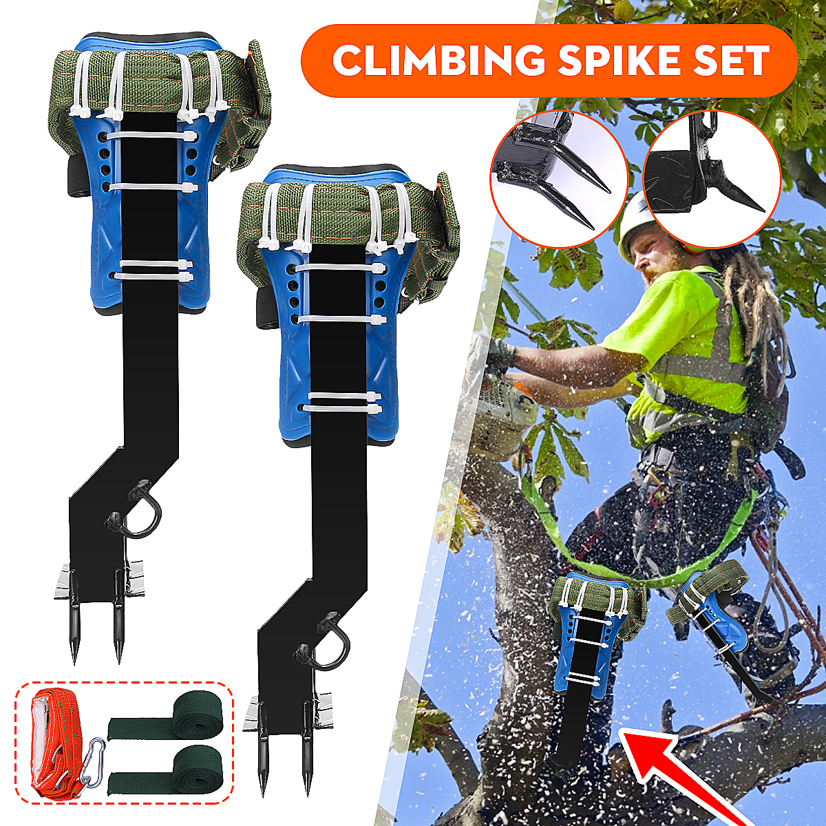 Tree Climbing Spike Set With Seat Belt Foot Buckle for Hunting Picking Fruit