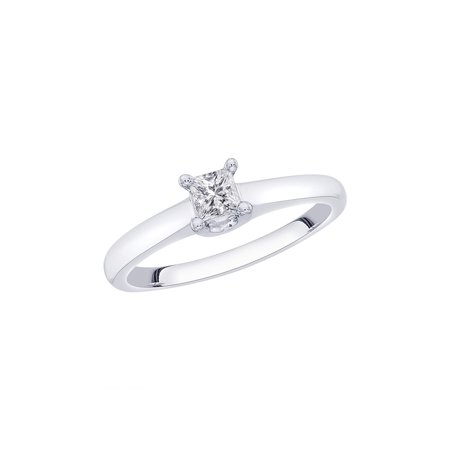 Channel Set Princess Cut Diamond Promise Ring in 14K White Gold (1/3 cttw, H-I, I2-I3) Channel Diamond Comfort Promise Ring