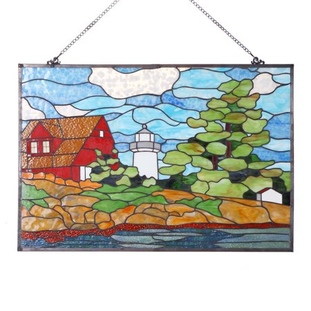 Stain Glass Lighthouse Art Panel (Bieye W10010 Seaside Scenery Red House Lighthouse and Tree 30 inch Tiffany Style Stained Glass Window)