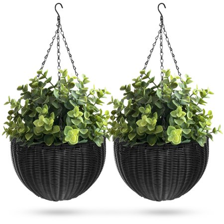 Wicker Hanging (Best Choice Products Set of 2 Patio Garden Round Wicker Rattan Pot Hanging Planters w/ Triple-Chain Hanger -)