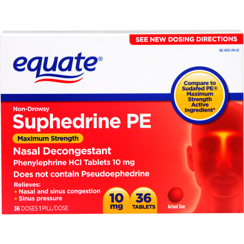 Equate Maximum Strength Non-Drowsy Nasal Decongestant PE, 36ct