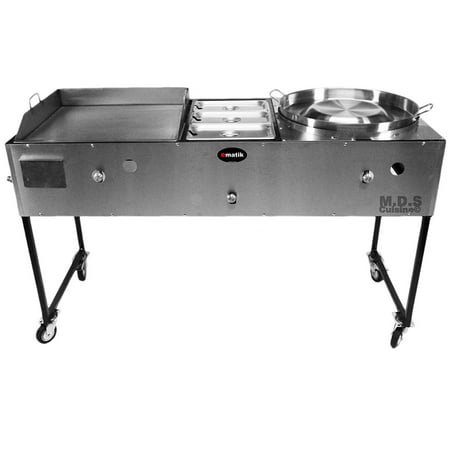 "Ematic Catering Cart 24"" Griddle 100% Pure Heavy Duty Gauge Steel Commercial Stainless Steel Taco Cart Grill with Steamer and Convex Comal"
