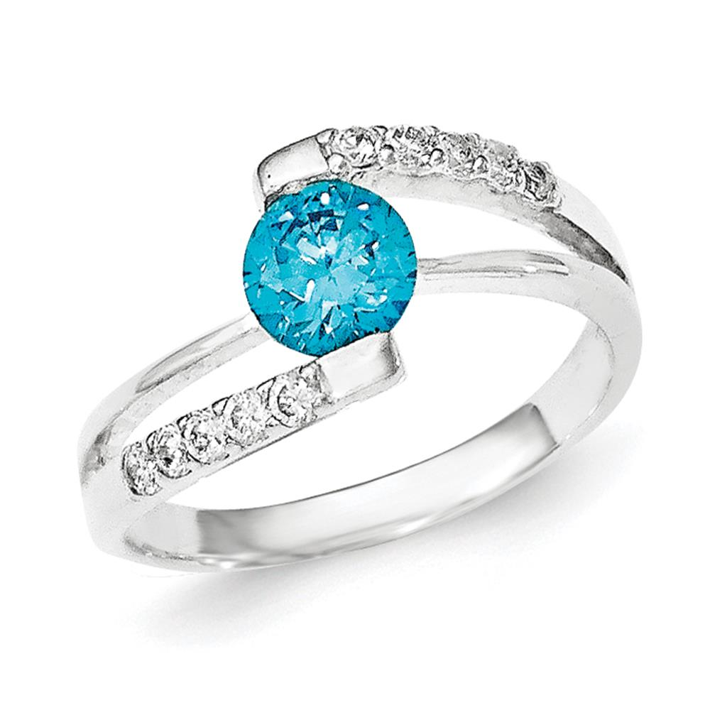 925 Sterling Silver Polished Blue CZ w/CZ Accents Ring Size 8