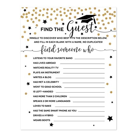White and Gold Glittering Graduation, Name the Guest Who Game Cards, 20-Pack - Halloween Guess Who Game Characters