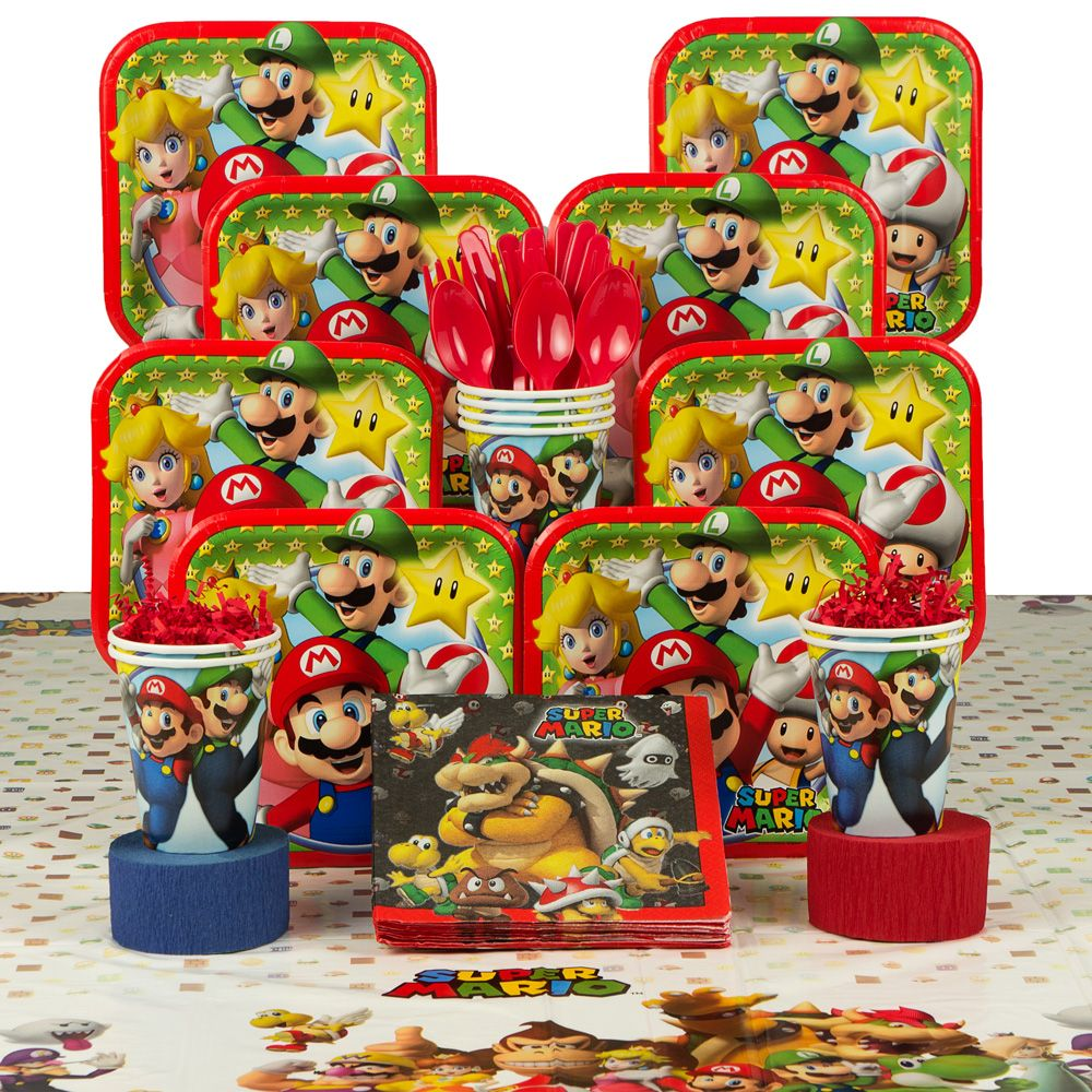 Mario Birthday Party Deluxe Tableware Kit - Party Supplies