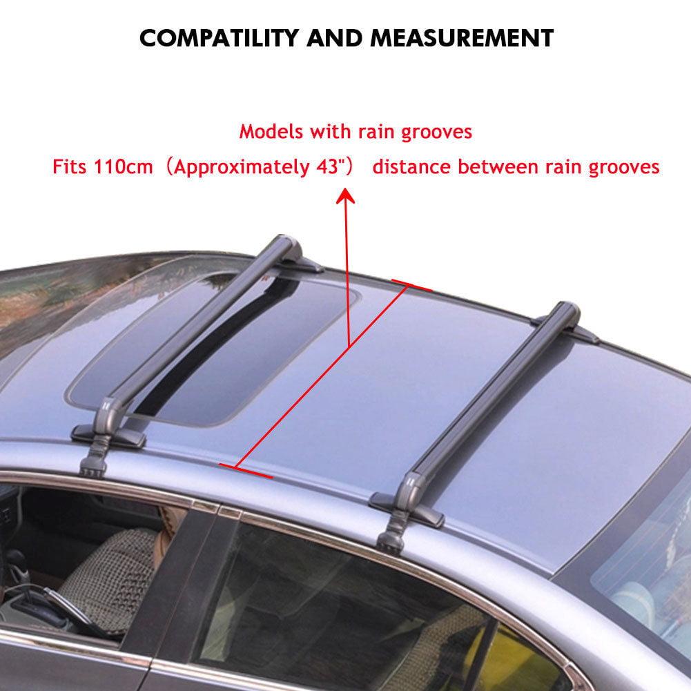 43.3/'/' Lockable Car Top Roof Rack Cross Bar Luggage Carrie Adjustable Aluminum