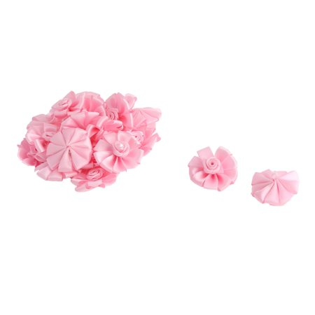 Wedding Birthday Party Decor Satin Table Handmade DIY Ribbon Flower Pink 20 Pcs