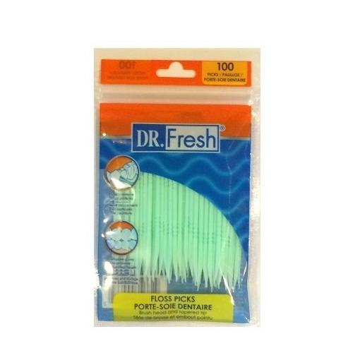 10 Pack Dr. Fresh Dental Floss Picks Soft Bristles Toothpicks 100 Count each