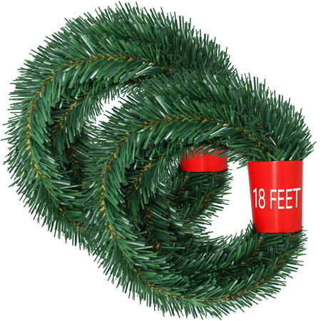 36 Feet Christmas Garland, 2 Strands Artificial Pine Garland Soft Greenery Garland for Holiday Wedding Party Decoration, Outdoor/Indoor Use (Girlande 2)