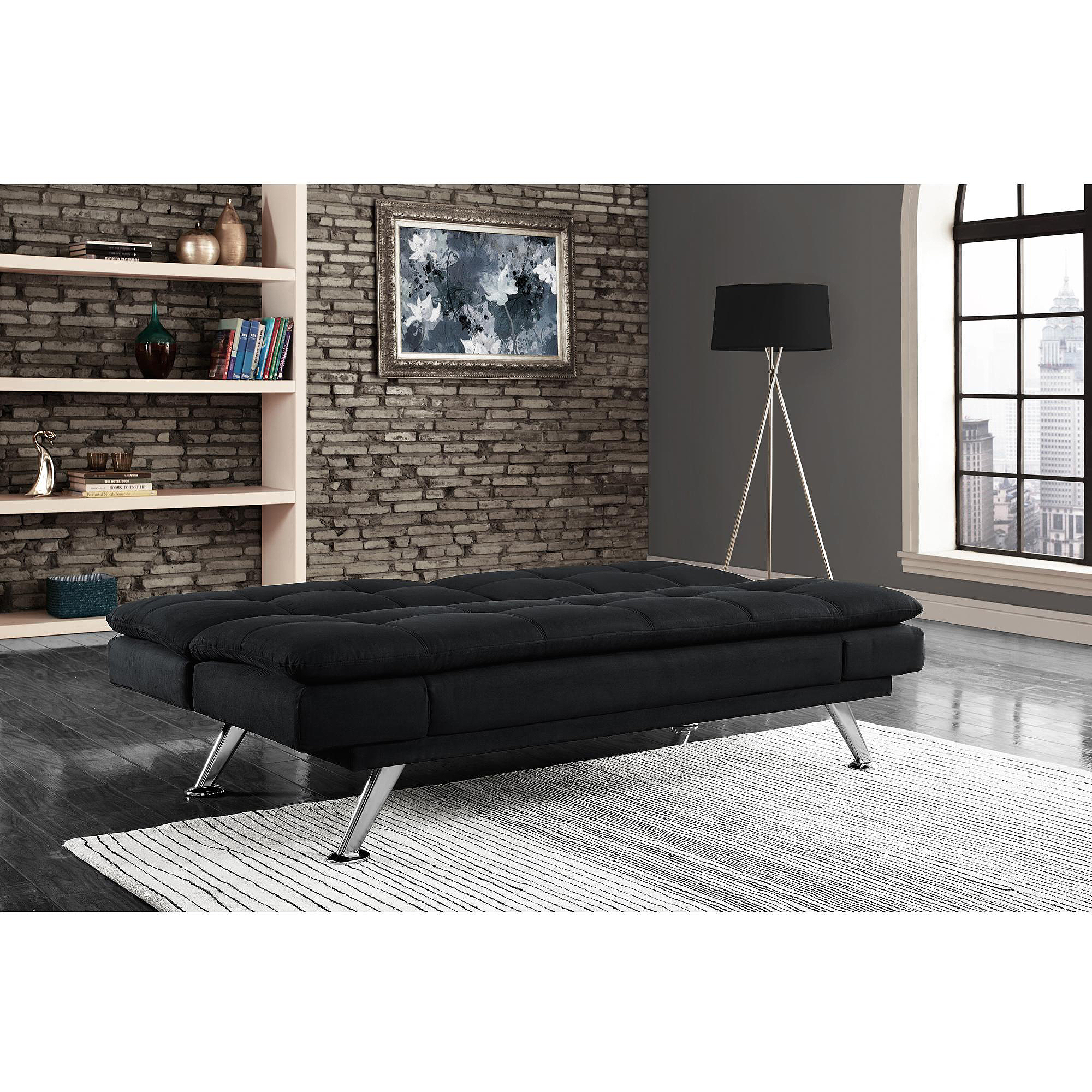Premium Bailey Pillow Top Futon, Black   Walmart.com