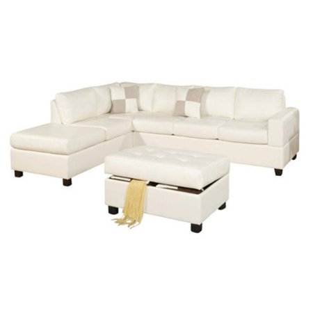 Groovy Poundex Bobkona Soft Touch 3 Piece Leather Sectional Sofa Pabps2019 Chair Design Images Pabps2019Com