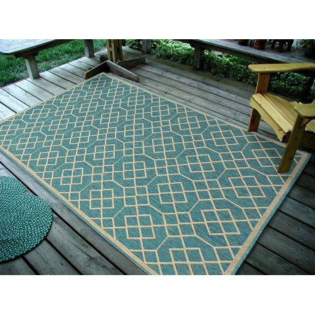 4 5  X7   135X215cm  Geometric Blocks  Ocean Blue Indoor   Outdoor Area Rug  Easy To Clean  Uv Protected   Fade Resistant Furnishmyplace 1115
