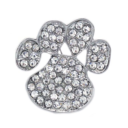 cocojewelry Doggy Dog Pet Paw Print Brooch Pin Necklace Pendant Jewelry  (Clear)