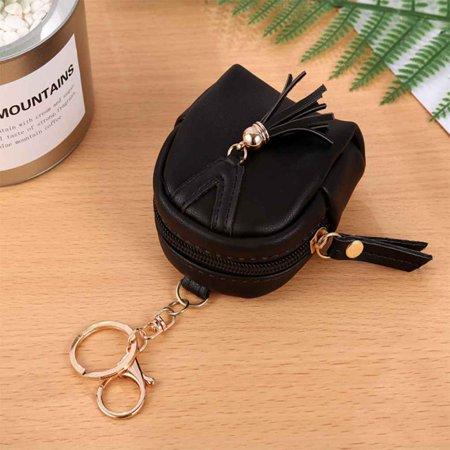 Cartoon Wallet Keychain Women Mini Tassel Schoolbag Purse Zipper PU Leather Pouch Wallet