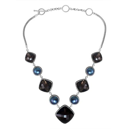 SN-1699-CO2 Sterling Silver Necklace With Black Onyx, Gray