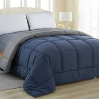 Equinox Comforter - (350 GSM) White Alternative Goose Down (Queen) - Hypoallergenic, Plush Siliconized Fiberfill, Box Stitched, Protects Against Dust Mites and Allergens