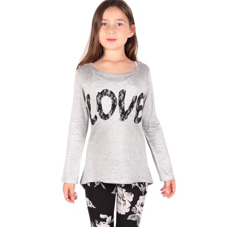 "Lori & Jane Girls Gray ""Love"" Detail Long Sleeve Casual Hi-Low Tunic"