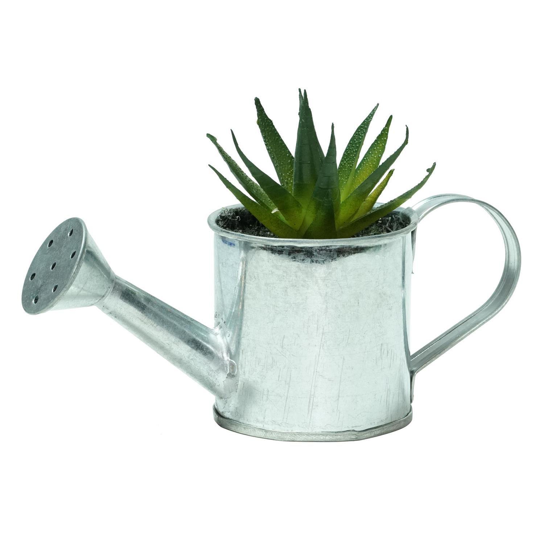 "4.25"" Green Mini Faux Aloe Vera Succulent in Tin Watering  Can"