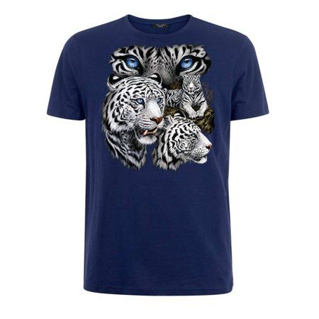 Bengal Pins (White Bengal Tiger T-Shirt (Large, Navy Blue))