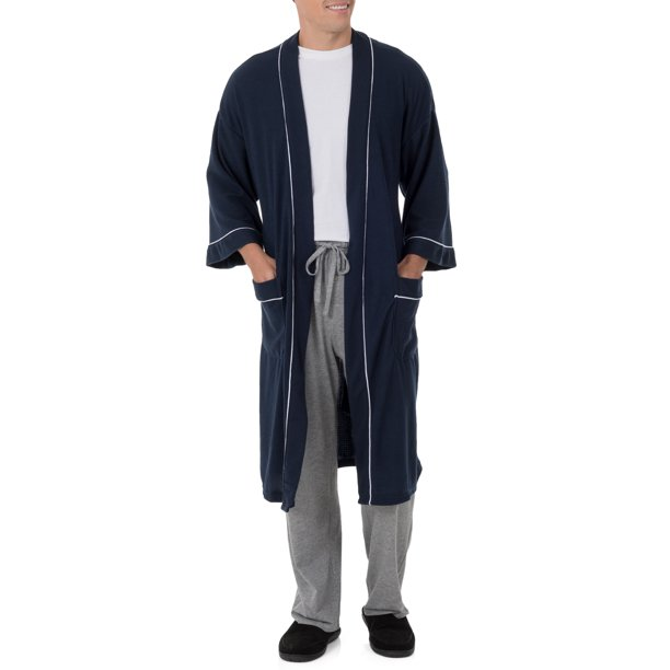 Big Men's Knit Waffle Robe, Size 2XL/3XL