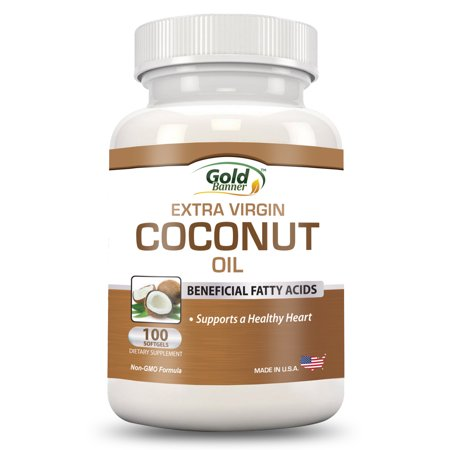 Coconut Oil Capsules - Extra Virgin Organic Coconut Oil Pills - 100 Softgels, 1000mg Each - Cold-Pressed - GMP Certified Facility - Made in the (Best Coconut Oil Capsules)