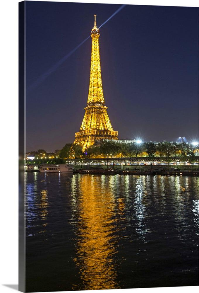 Great Big Canvas The Eiffel Tower And Seine River At Night In Paris Canvas Wall Art Walmart Com Walmart Com