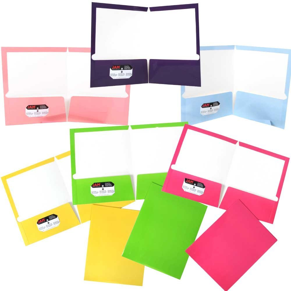JAM Paper Glossy Two Pocket Presentation Folder, Assorted Fashion Colors, 6/pack