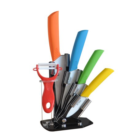 Tim Home 5 Pieces Multi Color Ceramic Cutlery Kitchen Knives with Fruit Peeler and Knife Stand (TJC-036)