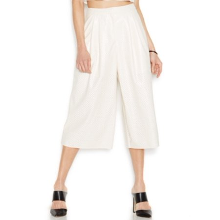 Bar III Perforated Faux-leather Gaucho Pearl Size M